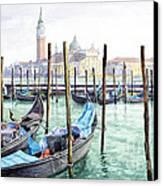 Italy Venice Gondolas Parked Canvas Print