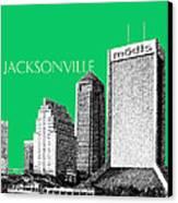 Jacksonville Florida Skyline - Green Canvas Print by DB Artist