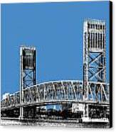 Jacksonville Skyline 2  Main Street Bridge - Slate Blue Canvas Print