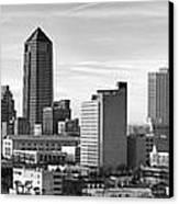 Jacksonville Skyline Morning Day Black And White Bw Panorama Florida Canvas Print