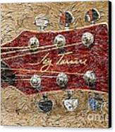 Jay Turser Guitar Head - Red Guitar - Digital Painting Canvas Print by Barbara Griffin