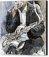 Jazz Saxophonist John Coltrane Yellow Canvas Print by Yuriy  Shevchuk