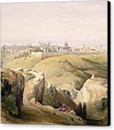 Jerusalem From The Mount Of Olives Canvas Print by David Roberts