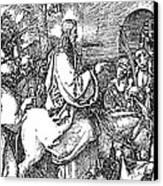 Jesus On The Donkey Palm Sunday Etching Canvas Print