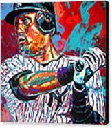 Jeter At Bat Canvas Print by Maria Arango