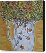 Jewel Tea Pitcher With Marigolds Canvas Print