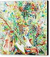 Jimi Hendrix Playing The Guitar Portrait.1 Canvas Print by Fabrizio Cassetta