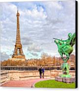 Joan Of Arc And The Eiffel Tower Canvas Print