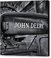 John Deere Tractor Bw Canvas Print by Susan Candelario