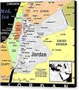 Jordan Exotic Map Canvas Print by Florene Welebny