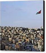 Jordanian Flag Flying Over The City Of Amman Jordan Canvas Print