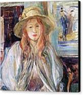 Julie Manet With A Straw Hat Canvas Print by Berthe Morisot