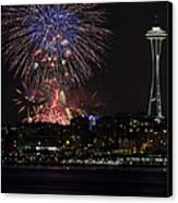 July 4th Fireworks In Seattle Canvas Print by Yoshiki Nakamura