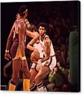 Kareem Abdul Jabbar Gets Rebound Canvas Print by Retro Images Archive