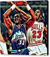 Karl Malone Vs. Michael Jordan Canvas Print