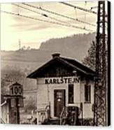 Karlstejn Railroad Shack Canvas Print by Joan Carroll