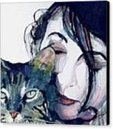 Kate And Her Cat Canvas Print by Paul Lovering