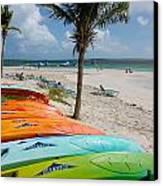 Kayaks On The Beach Canvas Print by Amy Cicconi