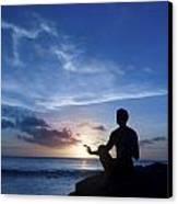 Keeping Sun - Young Man Meditating On The Beach Canvas Print