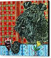 Kerry Blue Terrier At The Wine Bar Canvas Print by Jay  Schmetz