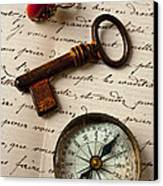 Key Ring And Compass Canvas Print by Garry Gay