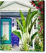 Key West Cottage Watercolor Canvas Print