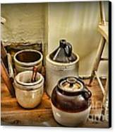 Kitchen Old Stoneware Canvas Print by Paul Ward