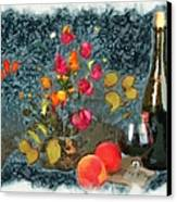 Kitchen - Peaches And Wine Painting  Canvas Print by Liane Wright