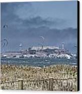Kite Surfing Alcatraz Canvas Print by Chuck Kuhn