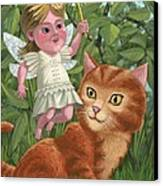 Kitten With Girl Fairy In Garden Canvas Print