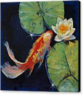 Koi And White Lily Canvas Print by Michael Creese