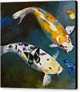 Koi Fish And Butterflies Canvas Print by Michael Creese