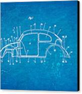 Komenda Vw Beetle Body Design Patent Art 1944 Blueprint Canvas Print by Ian Monk