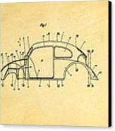 Komenda Vw Beetle Body Design Patent Art 1944 Canvas Print by Ian Monk