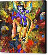 Krishna With A Star Deer Canvas Print
