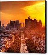 La Defense And Champs Elysees At Sunset Canvas Print