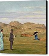 Ladies Match At Westward Ho Canvas Print by Francis Powell Hopkins