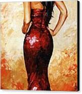 Lady In Red 035 Canvas Print