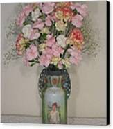 Lady On Vase With Pink Flowers Canvas Print