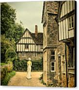 Lady Walking In The Village Canvas Print by Jill Battaglia
