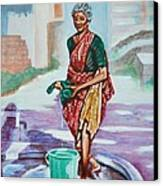 Lady Washing Clothes Canvas Print