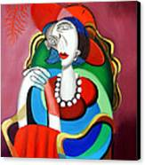 Lady With A Red Hat Canvas Print by Anthony Falbo
