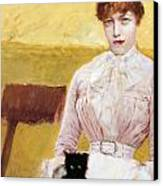 Lady With Black Kitten Canvas Print by Giuseppe De Nittis