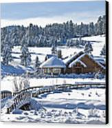 Lake House In Snow Canvas Print