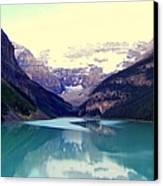 Lake Louise Stillness Canvas Print by Karen Wiles