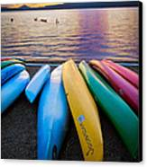 Lake Quinault Kayaks Canvas Print by Inge Johnsson