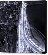 Lake Shore Drive Aerial  B And  W Canvas Print