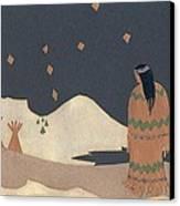 Lakota Woman With Winter Constellations Canvas Print by Dawn Senior-Trask