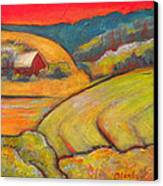 Landscape Art Orange Sky Farm Canvas Print by Blenda Studio