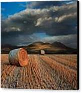 Landscape Of Hay Bales In Front Of Mountains Digital Painting Canvas Print by Matthew Gibson